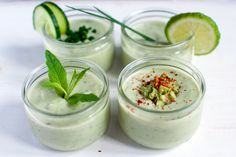 chilled avocado soup - •one ripe avocado  •one green cucumber  •juice of one lime  •250 ml of natural yoghurt  •2 tbsp. of chopped chives  •1 tbsp. of chopped mint  •1/2 tsp. of dried chili flakes  •sea salt to taste