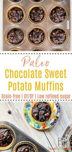 A healthy snack or lunchbox addition, paleo chocolate sweet potato muffins have no grains and no refined sugar. Low in carbs, good healthy fats and all real food make up these delicious paleo muffins. Make an extra batch and place them in the freezer for later.