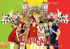 Box cover for the boardgame 'Carnaval', a game inspired by Dutch Carnaval. Game and illustrations made by Mietta Várszegi.