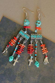 Wild Child Chandelier Earrings... Skull Frida Kahlo Coral Turquoise, via Etsy.