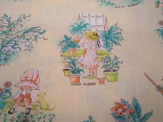 Vintage Manes Holly Hobbie Sunflowers Fabric 3 Yards by annegraham, $25.00