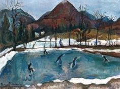 Perlrott-Csaba Vilmos - Korcsolyázók, 1931 Paintings, Nature, Landscapes, Art, Mountain, Paisajes, Art Background, Naturaleza, Scenery