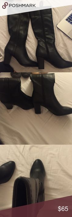 Alfani 9.5 black leather boots Black leader boots never worn tags and stickers still on! In perfect condition Alfani Shoes Heeled Boots
