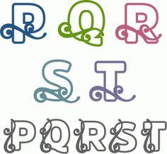 Silhouette Design Store: Flourish Block Alpha P-t Fancy Fonts Alphabet, Calligraphy Alphabet, Alphabet And Numbers, Silhouette Design, Silhouette Cameo, Cute Letters, Letter Stencils, Lettering Design, Paper Cutting