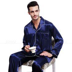 Mens Silk Satin Pajamas Pyjamas Set Sleepwear Loungewear S~4XL__Plus Size