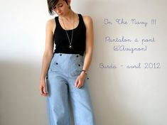 In the navy ! - My denim sailor pants Saint James, Burda Style Magazine, Plus Size Patterns, Sailor Pants, Girl Outfits, Fashion Outfits, Mens Fashion Week, Couture, Stretch Denim