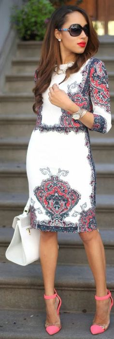 White Multi Paisley Print Body-con Midi Dress