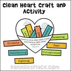 Clean Heart Craft and Learning Activity for Sunday School from www.daniellesplace.com