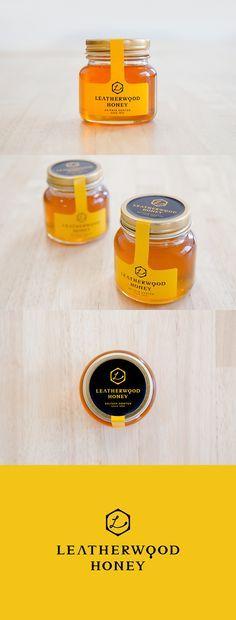 logo label design honey bottle leatherwood ロゴ ラベル デザイン はちみつ レザーウッド ビン Honey Packaging, Chocolate Packaging, Food Packaging Design, Bottle Packaging, Packaging Design Inspiration, Coffee Packaging, Honey Jar Labels, Honey Label, Beer Labels