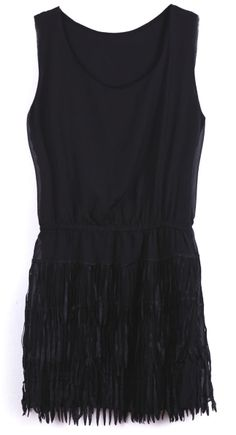 reminds of the beautiful flapper dresses in the 20's. ++ Black Sleeveless Tassel Embellished Chiffon Dress
