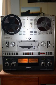 My son was able to find some adapter cables that allowed me to hook up this  old Studer B 67 tape recorder to my stereo system.