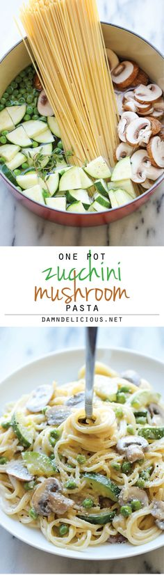 One Pot Zucchini Mushroom Pasta - A creamy, hearty pasta dish that you can make in just 20 min. Even the pasta gets cooked in the pot!  Dietitian's tip: to lighten this recipe up and lower calories, substitute the heavy cream for non-fat half and half.
