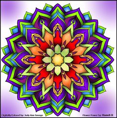 This is Flower Power colored by Jody Ann Savage. One of 100+ printable mandalas you can color for free! https://mondaymandala.com/m/flower-power?utm_campaign=sendible-pinterest&utm_medium=social&utm_source=pinterest&utm_content=flower-power&utm_term=fancolor