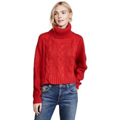 BB Dakota Jack by BB Dakota Hobie Sweater (145 BGN) ❤ liked on Polyvore featuring tops, sweaters, ribbon red, loose crop top, long sleeve sweater, turtle neck crop top, cropped turtleneck and red sweater