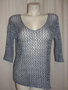 BOSTON PROPER Blue Silver Acrylic Nylon Lurex Open Woven Knit 3/4 Slv Sweater XS #BostonProper #KnitTop #Casual
