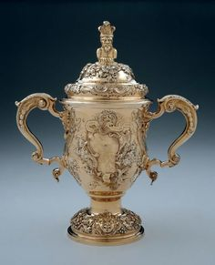 Two-Handled Cup and Cover. English (London). John Berthellot, 1751–52.  Silver gilt