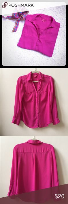 Bright Fuchsia Shirt 👚 Beautiful and bright button down v neckline. Roll up tab sleeves. Compfy crepe feel. Sunny Leigh Tops