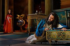Brenda Harris as Abigaille, presumed daugher of Nabucco and Jason Howard as Nabucco, King of Babylon in the Minnesota Opera production of Nabucco.