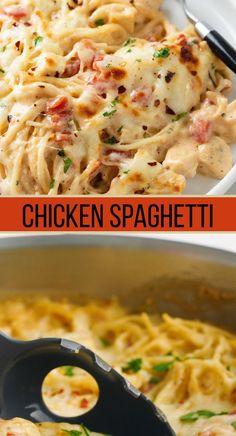 Chicken Spaghetti Recipes, Pasta Dinner Recipes, Easy Pasta Recipes, Quick Dinner Recipes, Chicken Spaghetti With Rotel, Spaghetti Bake Recipe Easy, Recipes With Rotel, Southern Chicken Spaghetti Recipe, Chicken Pasta Easy