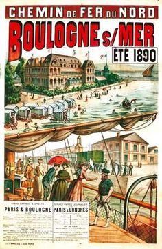 chemins de fer du nord - Boulogne sur Mer - été 1890 -