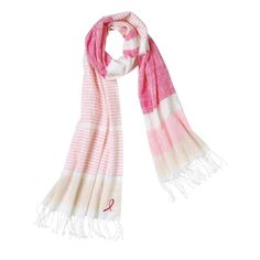 "C-18 Avon Pink Pride Scarf Avon's Pink Pride Scarf is an oversized woven cotton scarf embroidered with the breast cancer logo with fringe ends. Shop this warm and giving scarf. FEATURES • Dimensions 84"" L x 23"" W MATERIALS • 100% Cotton /www.avon.com/product/avon-pink-pride-scarf-57944?rep=dspeerbrecher"