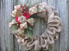 Hang this rustic Christmas burlap wreath on your front door or over the mantel and enjoy its classic look all winter long. Burlap garland is
