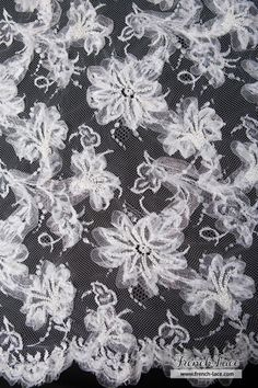 Gorgeous beaded lace with appliques on an extraordinary 50% off sale! Only $150 per meter and only 2 meters left!