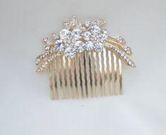 Bridal Hair Comb / Gold Rhinestone Hair Comb / by lyndahats