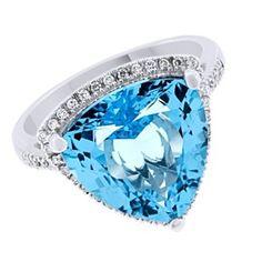 Trllion Cut Blue Topaz & Diamond Halo Ring 14K White Gold by JewelryHub on Opensky