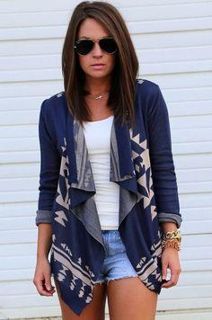 Women Pattern Cardigan Blue Gray Single Button Asymmetrical Hem Coat ! See more at chicnico.com♥