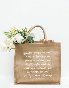 Empower others with this burlap tote bag designed by our co-founder Lauren Conrad. Each purchase supports female artisans at CORR - The Jute Works in Bangladesh. Women Empowerment, Burlap Tote, Jute Fabric, Lauren Conrad, Hostess Gifts, Inspirational Quotes, Tote Bags, Gift Bags, Mother's Day
