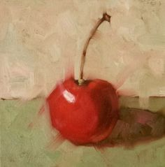 Small Original Oil PaintingRed Cherry 8 x 8 by CynthiaHaaseFineArt
