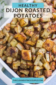 Crispy Dijon Mustard Roasted Potatoes are an easy side dish that pair with any meal! Made with 6 ingredients & done in under an hour, they're simple and delicious! These oven roasted potatoes will be a favorite with everyone! A clean eating healthy side dish!#vegan #sidedish #healthy #recipe #glutenfree #dairyfree #potatoes Vegan Side Dishes, Side Dishes Easy, Side Dish Recipes, Food Dishes, Recipes Dinner, Clean Eating Recipes, Healthy Recipes, Eating Healthy, Free Recipes