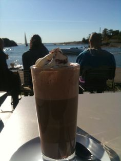 Hot chocolate by the sea.