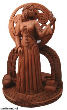 This is one of my favorites on Wiccan Supplies, Witchcraft Supplies & Pagan Supplies Experts-Eclectic Artisans: Brighid Goddess Statue With Candle Holders