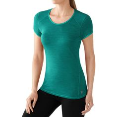 SmartWool Micro 150 Pattern T-Shirt ($75) ❤ liked on Polyvore featuring activewear, activewear tops, smartwool shirt, upf shirts, stitch shirt, merino shirt and heart print shirt
