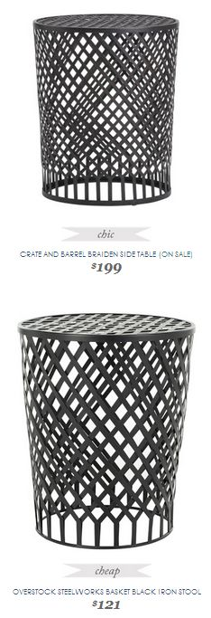 Copy Cat Chic Find | CRATE AND BARREL BRAIDEN SIDE TABLE (ON SALE) VS OVERSTOCK STEELWORKS BASKET BLACK IRON STOOL