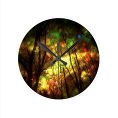 Fantasy Starry Forest Round Clock