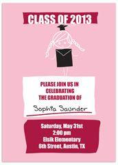 Elementary 5th grade graduation announcement sample 2013 pink girl elementary graduation invitation example stopboris Images