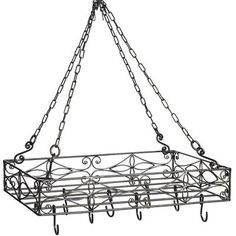 Rectangle Hanging Pot Rack from Pier 1 imports. Saved to kitchen. Shop more products from Pier 1 imports on Wanelo. Pot Rack Hanging, Hanging Pots, Kitchen Redo, Kitchen Design, Kitchen Island, Kitchen Stuff, Kitchen Ideas, Pot Hanger, Hanging Candles