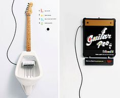 THIS IS SO WRONG hahaha!!! Guitar Pee Urinal lets you play a guitar solo as you tinkle