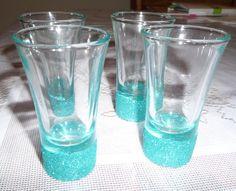e8357a24430b GLITTER SHOT GLASS Tiffany   Co Blue 3oz Shot Glasses for Birthday Bridal  Bachelorette Party Shower