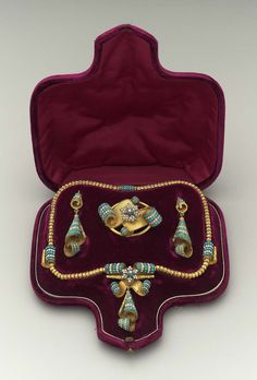"""19th century parure made of Gold, turquoise, and seed pearls. (MFA, Boston) [I didn't know what a parure was, so I looked it up. """"A matching set of jewelry or ornaments"""". Now I know. :-)]"""