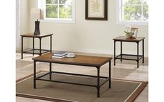 Stockton Oak & Black Coffee Table Set – My Furniture Place