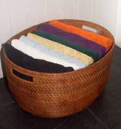 Gorgeous oval rattan storage basket from Lombok.