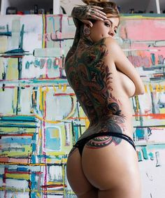 bringing you the best of the internets, nsfw, photos are not mine Tattoo Girls, Girl Tattoos, Tattoos For Women, Tattooed Women, Body Painting, Woman Painting, Hot Tattoos, Body Art Tattoos, Crazy Tattoos