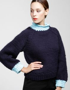 Love the different color at the collar and sleeve.  Wool and the Gangs Royal Rose Sweater