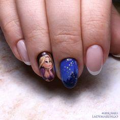 Rapunzel nailart by ladymarengo on DeviantArt Funky Nail Art, Funky Nails, Cute Nail Art, Beautiful Nail Art, Cute Nails, My Nails, Disney Acrylic Nails, Disney Nails, Cartoon Nail Designs