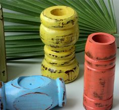 Wooden Candle Holders Tropical Decor Up Cycled by TheSavvyShopper1, $17.00