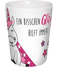 infinite by GEDA LABELS 15907 Einhorn Glitzer Hilft Porzellanbecher V-Mug circa 300 ml, weiß / rosa, 8,5 x 8,5 x 10 cm